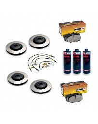 370z StopTech F+R Brake Discs Hawk Pads Lines and Fluid Pack - Slotted - Akebono