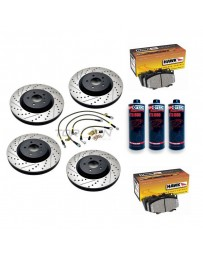 370z StopTech F+R Brake Discs Hawk Pads Lines and Fluid Pack - Akebono