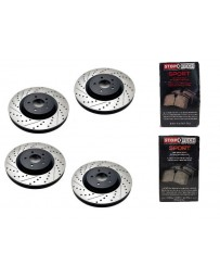 370z StopTech Discs & Sport Performance Pads kit for Akebono brakes - SLOTTED & DRILLED