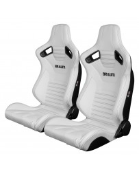 BRAUM ELITE-X SERIES RACING SEATS (WHITE LEATHERETTE) – PAIR