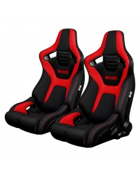 BRAUM ELITE-R SERIES RACING SEATS ( BLACK & RED CLOTH ) – PAIR