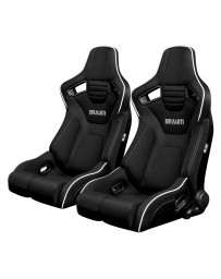 BRAUM ELITE-R SERIES RACING SEATS ( BLACK CLOTH - WHITE PIPING ) – PAIR