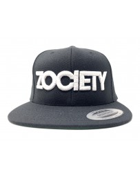 ZOCIETY Black hat with snap back and white logo