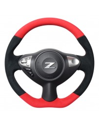 370z REAL JAPAN Steering wheel - Red & Black Ultra Suede - Black Euro stitching