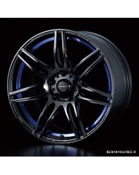WedsSport SA-77R 17x7.5 5x100 ET48 Wheel- Blue Light Chrome Black