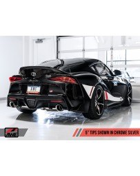 "Toyota Supra GR A90 AWE Tuning Non-Resonated Touring Edition Exhaust 5"" Chrome Silver Tips"