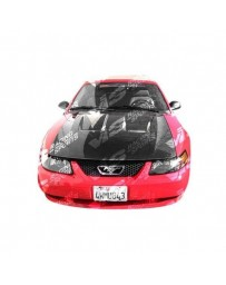 VIS Racing Carbon Fiber Hood Heat Extractor Style for Ford MUSTANG 2DR 94-98