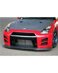 ChargeSpeed FRP Front Bumper (White Gel) with LED & FRP Lip with Under Diffuser (Black Gel) (Japanese CFRP) Nissan GTR R35 07-19