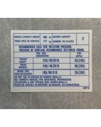 300ZX Z32 Blaster Z Tire Pressure Decal