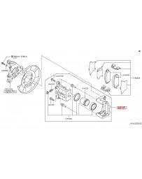 370z Z34 Nissan OEM Caliper Assembly, Akebono Sport, Rear RH, Gray