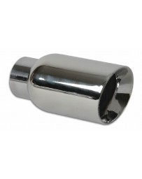 "Vibrant Performance 4"" Round Stainless Steel Tip (Double Wall, Angle Cut)"
