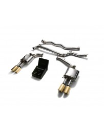 ARMYTRIX Stainless Steel Valvetronic Catback Exhaust System Quad Gold Tips Audi A4 B8 08-15