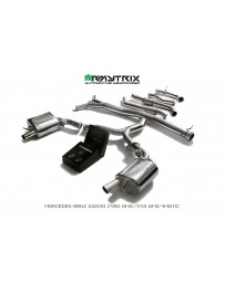 ARMYTRIX Stainless Steel Valvetronic Catback Exhaust System Quad Carbon Coated for BRABUS Diffuser Mercedes C400 C43 AMG