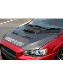 ChargeSpeed 08-17 Lancer Ralliart Evo X T2 Vented Carbon Hood